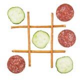 Gesund gegen ungesundes Lebensmittel Stockbilder
