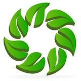 Gesund und Natur treibt in einem Kreislogo-Ikonenvektor Blätter lizenzfreie abbildung
