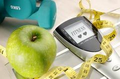Gesunde Apfel- und Sport- und Eignungsmitteilung stockbild