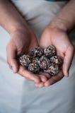 Gesunde Bonbons gemacht von den Nüssen und von den Trockenfrüchten Stockfotos