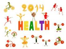 Gesunde Ernährung. Kleine lustige Leute gemacht vom Gemüse und von der Frucht stock abbildung