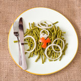 Gesunde Ernährung: nutrisious Salat der grünen Bohnen Stockbild