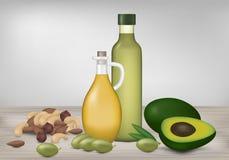 Gesunde fette Produkte Ölflaschen, Avocado, Oliven und Nüsse auf w lizenzfreie abbildung
