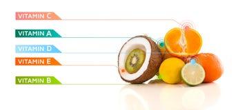 Gesunde Früchte mit bunten Vitaminsymbolen und -ikonen Lizenzfreie Stockfotos