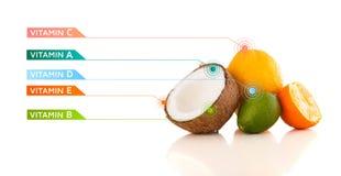 Gesunde Früchte mit bunten Vitaminsymbolen und -ikonen Lizenzfreies Stockbild