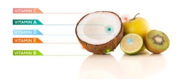 Gesunde Früchte mit bunten Vitaminsymbolen und -ikonen Stockbild