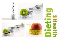 Gesunde Früchte und Milch mit messendem Band stockfotos