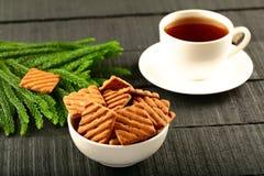 Gesunde Frühstück Schokoladenplätzchen mit Kaffee Lizenzfreie Stockbilder