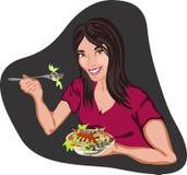 Gesunde Frau, die Salat von Teigwaren, lächelnder Vektor isst Stockfotos