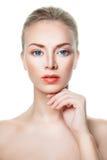 Gesunde Frau mit klarer Haut, Skincare-Konzept Stockfoto