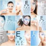 Gesunde Frauen mit einem Laser-Hologramm auf Augen Augenscannentechnologie, -augenheilkunde und -chirurgie stockbilder