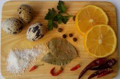 Gesunde Küche: Eier, Grüns, Gewürze, Petersilie, Zitrone, Paprika, Lorbeerblatt, Salz Ansicht von oben Hintergrund frech Lizenzfreie Stockfotos