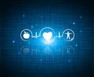 Gesunde lebende Symbole auf einem Technologiehintergrund Stockbild