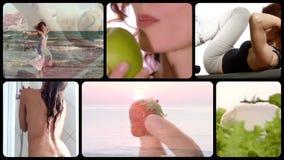 Gesunde Lebenmontage stock video footage