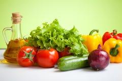 gesunde Lebensdauer des Nahrungsmittelfrischgemüses noch mit Schmieröl Stockfotos