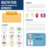 Gesunde Lebensmittel Infographics-Produkte mit Vitaminen und Mineralien, Gesundheits-Nahrungs-Lebensstil-Konzept Lizenzfreies Stockfoto
