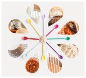 Gesunde Lebensmittelcollage Stockbilder