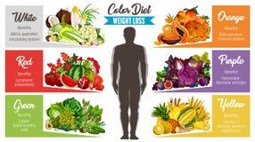 Gesunde Lebensmittelfahne der Farbdiät für Gewichtsverlust stock abbildung