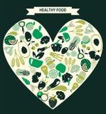 Gesunde Lebensmittelikonen stellten, Restaurant-Ikonen - Illustration ein Lizenzfreies Stockfoto