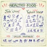 Gesunde Lebensmittelmenüliste mit der gezeichneten Hand sortierte Obst- und Gemüse Bildzeichen Lizenzfreie Stockbilder