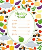 Gesunde Lebensmittelmenüschablone Stockfoto