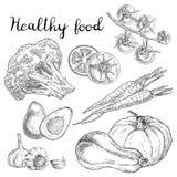 Gesunde Lebensmittelskizzen stock abbildung
