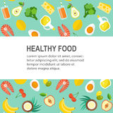 Gesunde Lebensmittelvektorschablone Lizenzfreie Stockfotos