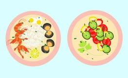 Gesunde Lebensmittelvektorschablone Lizenzfreie Stockbilder