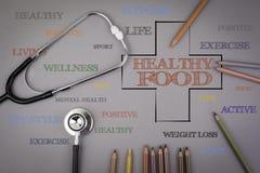 Gesunde Lebensmittelwortwolke, Gesundheitsquerkonzept Farbige Bleistifte a Stockbild