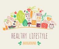 Gesunde Lebensstilvektorillustration Stockbilder