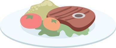 Gesunde Nahrung Platte mit geschmackvollem Fleisch und Gemüse lizenzfreie abbildung