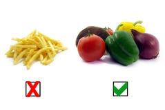 Gesunde Nahrung, ungesunde Nahrungsmittelabbildung Stockbild