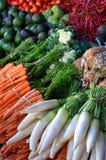 Gesunde Nahrungsmittelbildschirmanzeige auf traditionellem Markt Stockbilder