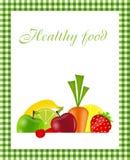 Gesunde Nahrungsmittelmenüschablonen-vektorabbildung Lizenzfreie Stockfotos