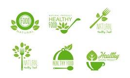 Gesunde Naturproduktlogos stellten, die Grünaufkleber für eco ein, organisch, strenger Vegetarier, rohe, gesunde Lebensmittelvekt vektor abbildung