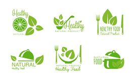 Gesunde Naturproduktlogos stellten, Grünaufkleber, die Ausweise für eco ein, organisch, strenger Vegetarier, rohe, gesunde Lebens stock abbildung