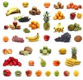 Gesunde Obst und Gemüse getrennt auf Weiß Stockfoto