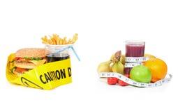 Gesunde oder ungesunde Nahrung Stockbild