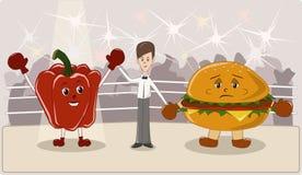 Gesunde oder ungesunde Nahrung Lizenzfreie Abbildung