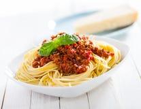 Gesunde Platte von italienischen Spaghettis Stockfotos