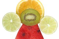 Gesunde Pyramide mit vier Früchten. Balance.Colorful Nahrung u. Getränk Stockbild