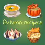 Gesunde Rezepte des Herbstes, vier Ikonen mit Tellern stock abbildung