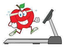 Gesunde rote Apple-Zeichentrickfilm-Figur Stockfoto