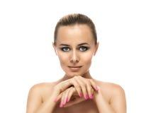 Gesunde saubere Haut des schönen Abschlusses der jungen Frau Stockfotos