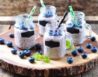 Gesunde Smoothies von der organischen Blaubeere, von der Banane und vom Hafermehl mit natürlichem Jogurt Stockbilder