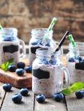 Gesunde Smoothies von der organischen Blaubeere, von der Banane und vom Hafermehl mit natürlichem Jogurt Stockfoto