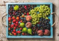 Gesunde Sommerobstsorte Schwarze und grüne Trauben, Erdbeeren, Feigen, süße Kirschen, Pfirsiche im blauen hölzernen Behälter Lizenzfreie Stockbilder