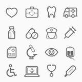 Gesunde und medizinische Symbollinie Ikonensatz vektor abbildung