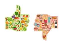 Gesunde und ungesunde Nahrung stock abbildung