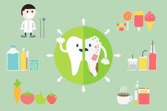 Gesunde und ungesunde Zähne des Vergleiches Stockfotografie